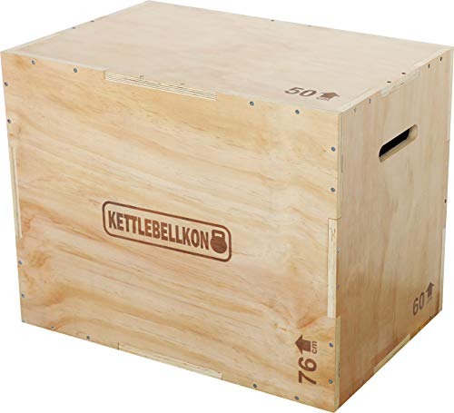 KETTLEBELLKON(ケトルベル魂) ウッドプライオボックス3 in 1【組立不要】(ジャンプボックス・昇降台・ジャンプ台・ステップ台) (50cmx60cmx76cm)