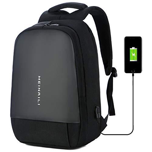 Oxford Tela Impermeable USB Recargable Multifunción Mochila Masculina Viajes Al Aire Libre Hombres Casual Moda Computadora Mochila 19 Pulgadas Negro