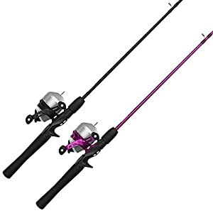 Zebco 33 Spincast Reel and 2-Piece Fishing Rod Combo (2-Pack), Quickset Anti-Reverse Fishing Reels with Bite Alert, 1-Pink, 1-Silver (33NHH.BP4)