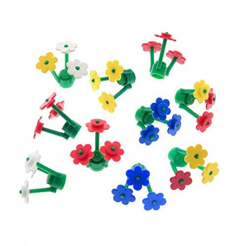 Preisvergleich Produktbild 10 x Lego System Blumen Pflanzen Teile Stiel grün Blüten Farbe zufällig gemischt Pflanze Blüte z.B. rot blau weiss gelb pink 3742 3741