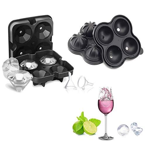Cubitera de silicona con forma de bola de hielo, 2 paquetes de moldes de silicona con tapa para whisky, cócteles y vino – flexible, sin BPA, diamante redondo negro