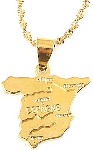 Yaoliangliang Collar con Colgante de Mapa de España de Color Dorado para Mujer, joyería de Cadena de Mapa español de país de España