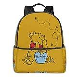 AOOEDM Anime Cartoon Winnie the Pooh Zaino Borsa da studente unisex Zaino classico leggero con cerniera 14,5 X 12x 5 pollici