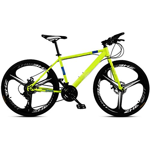 Mountain Bike/bicycles for Adult, 24/26 Inches Wheels, 21/24/27/30Speed Men's Dual Disc Brake Hardtail Mountain Bike, Bicycle Adjustable Seat, High-carbon Steel Frame ,Yellow 3 spoke,30Speed 26 In