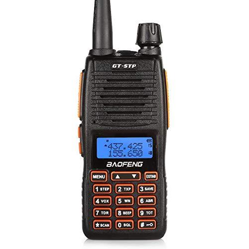Baofeng GT-5TP VHF/UHF Funkgerät Dual Band Dual PTT Tri-Power Walkie-Talkie mit 2000mAh Batterie und Headset, Schwarz