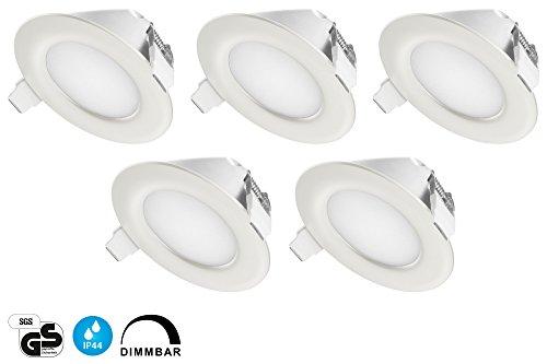 TEVEA® Ultra Flach LED Einbaustrahler IP44 dimmbar für den Wohnbereich |auch für das Bad geeignet| Warmweiß 6W 230V Rahmen weiss Rund Einbauspots Badleuchten, 5 Stück Einbauleuchten