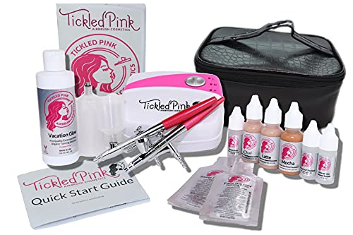 Tickled Pink Airbrush Cosmetic and Tanning Deluxe Kit (Deluxe Dark)