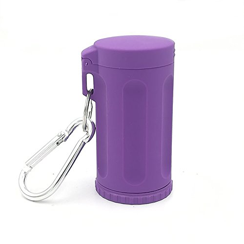 Honoro Portable Ashtray with Lid for Outdoor,ABS Smokeless Windproof Cigarettes Ashtray with Keychain,Purple