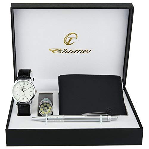 Caja de Regalo Reloj Hombre   Blanco - Lámpara LED - Cuchillo suizo  - Billetera - Bolígrafo