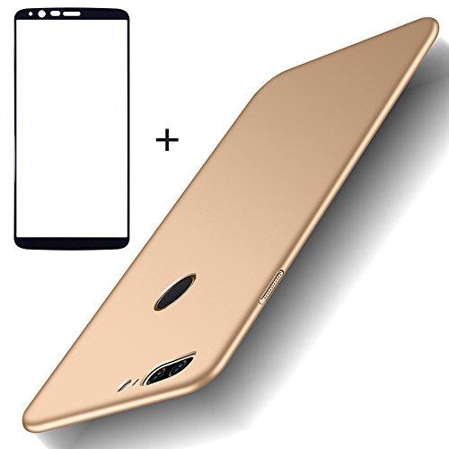 BLUGUL Funda OnePlus 5T + Protector de Pantalla, Ultra Delgado, Totalmente Protector, Sensación de Seda, Cristal Templado y Dura Cover para OnePlus 5T Oro