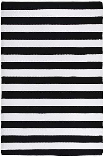 FH Home Alfombra/Alfombra de plástico Reciclado para Interiores/Exteriores - Reversible - Resistente al Clima y a los Rayos UV - Brittany Stripe - Black & White (180 cm x 270 cm)