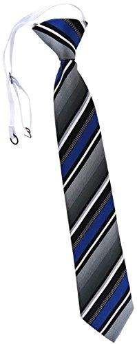 TigerTie Kinderkrawatte in blau silber grau weiss schwarz gestreift - Krawatte vorgebunden mit Gummizug