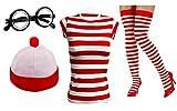 Conjunto Golden Beads para mujer a rayas rojas y blancas para despedida de soltera, salir de fiesta o disfraz de Wally en el Día del Libro. Incluye gafas de empollón