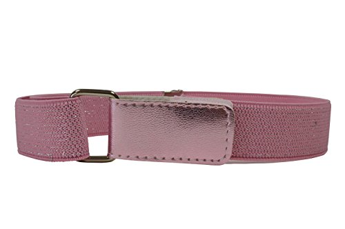 Cinturón Elástico para Niñas 1-6 Años con Hook y Loop Fijación. Rosa Claro con Plata