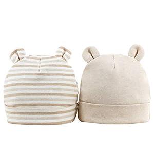 Sombrero de Beanie de algodón para bebé niñas y niños de recién Nacido 0-6 Meses Unisex Gorro Nudo de Las bebé de Esencial 3 Piezas or 2 Piezas