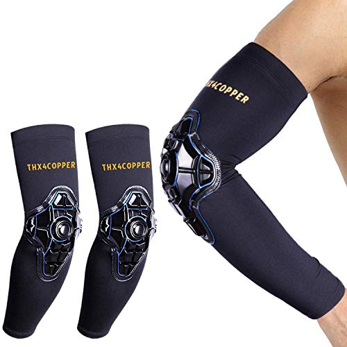 Thx4COPPER Compression Elbow Sleeve, Padded Arm Forearm Guard, Protective Support for Tennis, Golf, Football, Basketball, Volleyball, Softball, Tendonitis Recovery, Arthritis, Workouts-Men/Women Pair