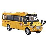 Amarillo Alloy Diecast School Bus vehículos Toy Car con Puertas y Luces Abatibles hacia Atrás Luces y Sonidos 1:32 Pull-Back Motor Coach Autobús para Niños