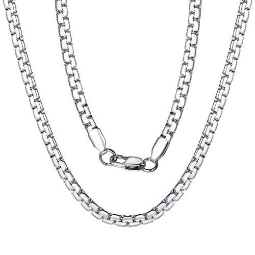ChainsPro Edelstahl Herren Halskette Punk Containment Kette,4mm Breit in Silber/Gold/Schwarz, Edelstahl Unisex Punk Halskette in 46-71cm Dammen/Herren