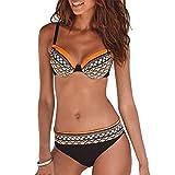 Bikini Mujer Estampado Tribal Push Up Trajes de Baño Ropa Sexy Bohemia Conjunto Bikinis (Naranja, M)