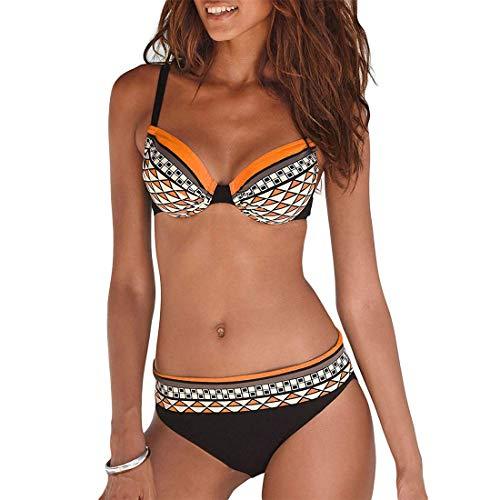 Bikini Mujer Estampado Tribal Push Up Trajes de Baño Ropa Sexy Bohemia Conjunto Bikinis (Naranja, L)