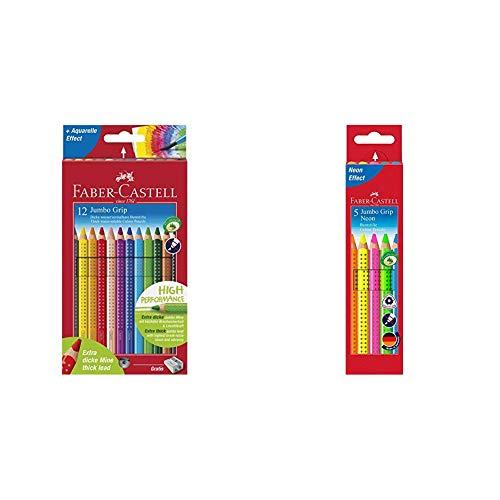 Faber-Castell 110912 - Farbstift Jumbo Grip Kartonetui 12er & 110994 - Buntstifte Jumbo Grip Neon, 5er Etui