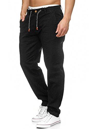 Indicode Herren Veneto Stoffhose aus 55% Leinen & 45% Baumwolle m. 4 Taschen | Lange sportliche Regular Fit Hose Moderne Baumwollhose Leinenhose Bequeme Freizeithose f. Männer Black L