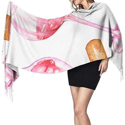 QKKstore Retro elegante colorido vino tinto corcho bufanda flecos mujeres bufanda chales y abrigos