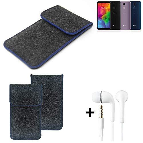 K-S-Trade® Filz Schutz Hülle Für LG Electronics Q7 Alfa Schutzhülle Filztasche Pouch Tasche Handyhülle Filzhülle Dunkelgrau, Blauer Rand Rand + Kopfhörer