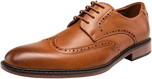 Jousen Men s Dress Shoes Modern Brogue Lightweight Oxford Business Brown Wingtip Shoes(MY626 Brown 10)