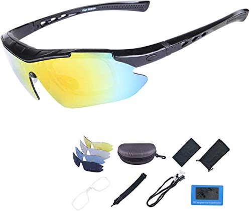 Polarized Sports Sunglasses, UV 400 Protection Unbreakable Sports Glasses with 5 Set of Interchangeable Lens, Sport Eye Protective Glasses for Women&Men in Running Cycling Fishing Golf