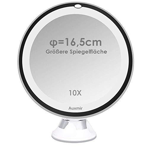 Auxmir Kosmetikspiegel LED mit Licht, Saugnapf, 10x Vergrößerung und 16,5cm Vergrößerte Spiegelfläche, Makeup Schminkspiegel Beleuchtet mit 2 Helligkeitsstufen für Zuhause und Unterwegs