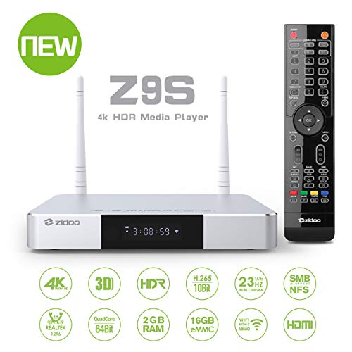 Zidoo Android 7.1 TV Box Z9S Media Player Realtek 1296 4 core 64-bit A53 Processor 4K Player 2GB/16GB/HDR SATA 3.0 Dual-WiFi 2.4G/5.0G,3D Ultra HD H.265 USB 3.0 BT 4.0 Smart TV Box