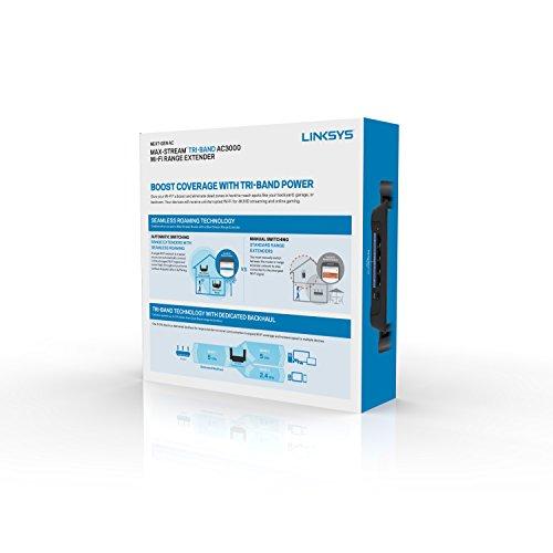 Linksys RE9000 AC3000 Max-Stream Tri-Band Wi-Fi Range Extender, Black