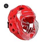 Besteffie, copricapo protettivo totale per la testa, copricapo da boxe con scudo per il viso – maschera per karate e taekwondo, Red, large