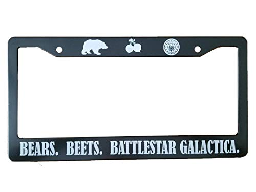 Bears, Beets, Battlestar Galactica License Plate Frame (Plastic) - Perfect for Any The Office Fan!