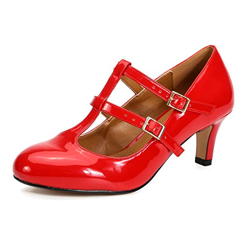 LIURUIJIA Dress Shoes for Women Heels and Pumps T-Strap Mary Jane Low Kitten Retro Shoe for Prom Dance Work Red-41
