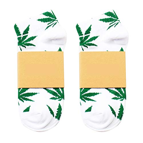Fablcrew Weiß Sommer Boot Socken Fliegendes Grün Ahornblattmuster Hanfblatt Socken Harajuku-Stil Sport Basketball Bekleidungszubehör für Herren