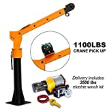 RUGCEL Winch 0.5T Folding Truck-Mounted Crane with Electric Winch 3500 lb 12V, Painted Steel 1100 lb Pickup Truck Jib Cranes 360 Swivel