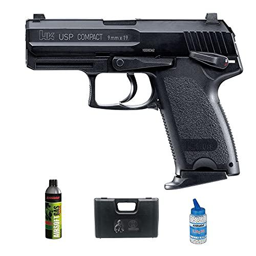 Pistola de Airsoft HK USP Compact Gas (Calibre 6mm)   Arma Corta de Bolas PVC + Botella Green Gas + maletín + biberón