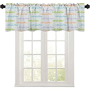 Kitchen Curtains Valances, Cute Cars Pastel Colored Automobiles Boys City Joyful Game Toys Childhood Inspired, Windows Rod Pocket for Bedroom, Multicolor