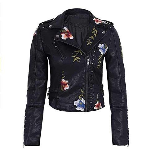 N\P Ailegogo Primavera otoño Flores Bordado PU Chaqueta de Cuero Mujeres Cuello Vuelto Remache Cremallera Negro Biker Abrigos Tops Ropa
