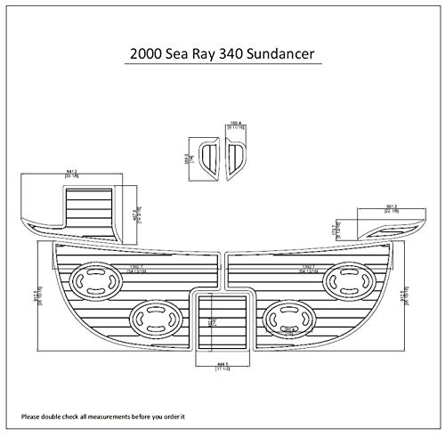 JZ 2000 Sea Ray 340 Sundancer Swim Platform Pad 1/4' 6mm Boat EVA Teak Decking