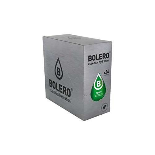 Bolero Drinks 24 bustine da 9 grammi gusto MELA ( APPLE) - Preparato istantaneo per Bevande con Stevia e Vitamina C e Senza Zucchero