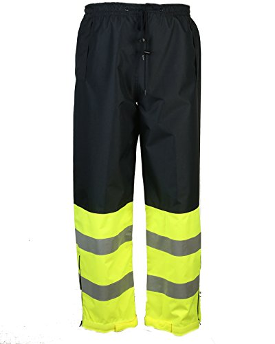 Safety Depot Two Tone Lime Yellow Black Reflective Class E Safety Draw String Pants Water Resistant High Visibility and Light Weight 737c-3 (4XL)