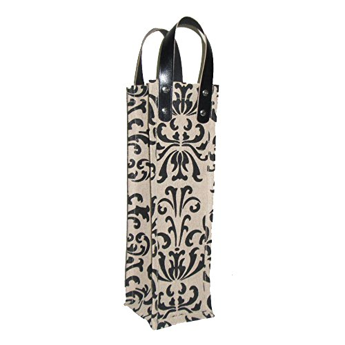 All For Giving Damask Wine Bag, Black