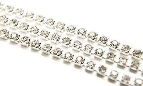 Trimming Shop 25m strass ketting met duidelijke imitatie diamante - parkly nep edelstenen voor kunst en ambachten - glas kristallen voor sieraden maken, armband, ketting en kleding versieringen