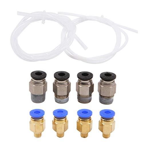 2Pcs PTFE Tube, 4Pcs PC4-M6 Quick Fitting and 4Pcs PC4-M10 Straight Pneumatic Fitting Push 3D Printer for 1.75mm Filament