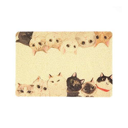 YangYan PVC Pet kattenbakvulling Mat Kitty Bowl Dog Feeding Mat Alcohol Pad Cute Patroon Ademende Sleeping mat Anti-slip waterdichte Bed (Color : Twelve cats, Grootte : 40x60cm)