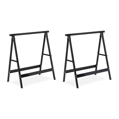 Relaxdays Klappbock, 2er Set, Belastung bis 100 kg, stabiler Gerüstbock, Arbeitshöhe 75 cm, platzsparend, Stahl, schwarz