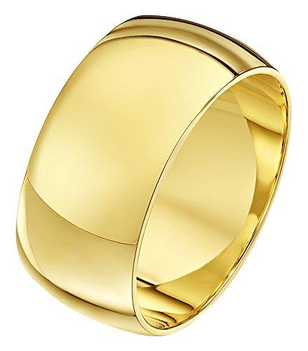 Theia Unisex Ehering 9 Karat Gelbgold, Sehr Massive D-Form, poliert, 10mm - Größe 57 (18.1)